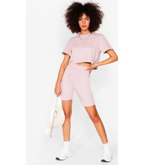 womens in this together tee and biker shorts set - stone