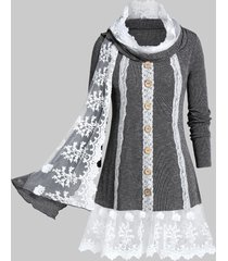 plus size contrast lace marled knitwear with scarf