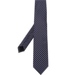 boss square pattern silk tie - blue