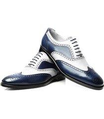 new handmade men navy white calf leather wingtip brogue dress formal shoes