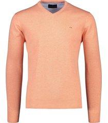 pullover portofino katoen v-hals zalmroze