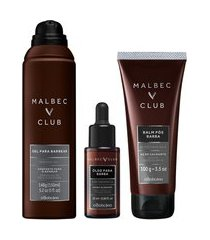 combo malbec club barba: gel espuma + balm pós barba + óleo para barba