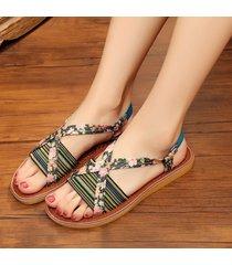 sandali piatti con stampa floreale per le donne