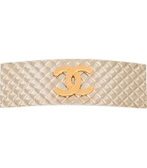 chanel pre-owned diamond quilted hair clip - gold