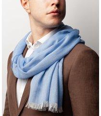 sciarpa da uomo, maalbi, seta cashmere azzurro, quattro stagioni | lanieri