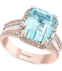 effy aquamarine (3-7/8 ct. t.w.) & diamond (1/2 ct. t.w.) emerald-cut halo statement ring in 14k rose gold