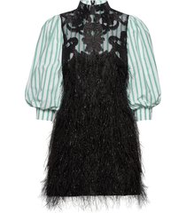 feathery cotton korte jurk zwart ganni