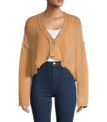 free people women's tera cropped cardigan sweater - terracotta - size l