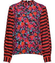 super flower brasca blouse lange mouwen rood mads nørgaard