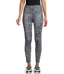 max studio women's earth snake-print active leggings - jet black print - size l