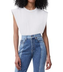 french connection cotton shoulder-pad top