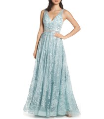 women's mac duggal beaded & embroidered chiffon evening dress