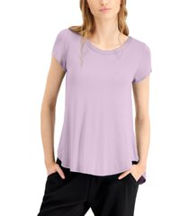 alfani satin-trim high-low t-shirt, in regular & petite, created for macy's