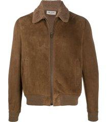 saint laurent spread-collar zip-front jacket - brown