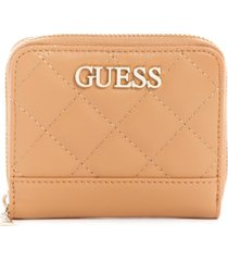 guess illy small quilted zip around wallet
