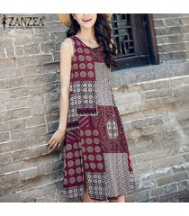 zanzea mujeres sin mangas cuello redondo estampado floral vintage split summer party mini vestido corto kaftan camisa larga vestido m-5xl (rojo) -rojo