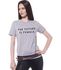 blusa joss future is female cinza