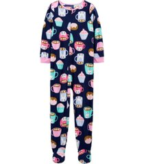 carter's big girl 1-piece cupcake fleece footie pjs
