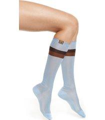 women's fendi ribbed knee high socks, size medium/large - blue
