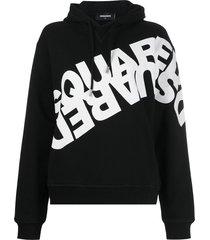 dsquared2 mirrored logo print hoodie - black
