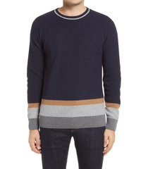 men's bugatchi stripe wool & cashmere blend crewneck sweater