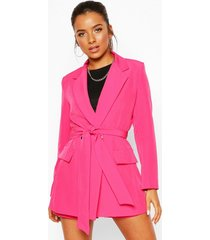 petite belt detail double breasted blazer, pink
