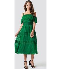 trendyol shoulder strap lace midi dress - green