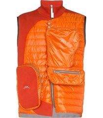 a-cold-wall* panelled multi-pocket gilet - orange