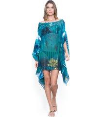kaftan 101 resort wear ombro a ombro crepe estampado floral verde