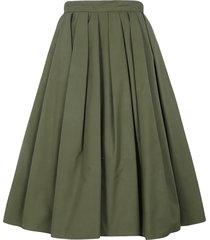 alexander mcqueen rear zip pleated flared skirt