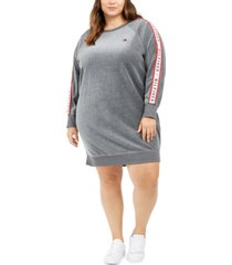 tommy hilfiger sport plus size velour logo-tape dress