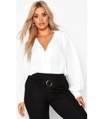 plus geweven kraagloze blouse met knopen, wit