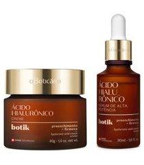 combo botik: creme facial firmador ácido hialurônico 40g + sérum de alta potência ácido hialurônico 30ml