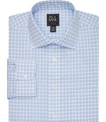 jos. a. bank men's traveler collection tailored fit spread collar plaid dress shirt - big & tall clearance, light blue, 17x36