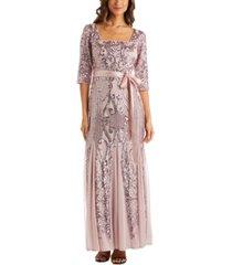 r & m richards petite sequinned godet-hem gown