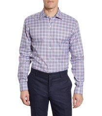 men's big & tall bugatchi trim fit check dress shirt, size 18 - burgundy