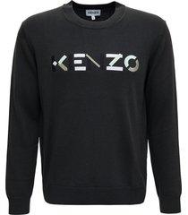 kenzo grey wool sweater with logo