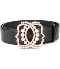 vivetta pearl-embellished belt - black