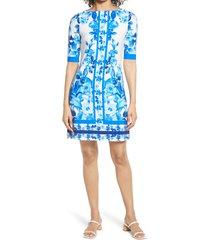 women's eliza j border print sheath dress, size 16 - blue