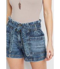 maurices womens denimflex™ high rise medium wash belted 3.5in shorts blue