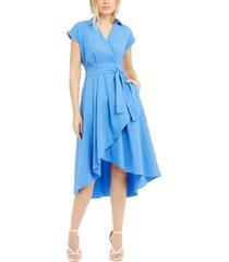 marella high-low poplin wrap dress