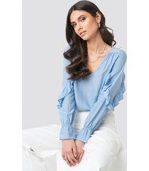 rut&circle frill sleeve blouse - blue