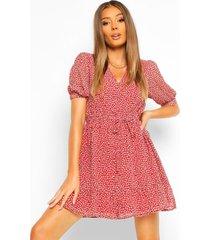 bloemenprint mini jurk met korte mouwen en knopen, red