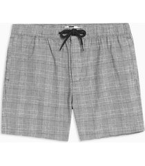 mens black and white check pull on shorts