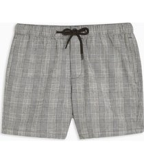 mens black and white check woven pull on shorts