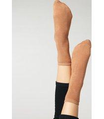 calzedonia short cotton thermal socks woman brown size tu