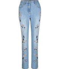 jeans med broderade blommor och fåglar dress in blå