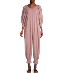 free people women's jackie puff-sleeve jumpsuit - smoked rose - size s