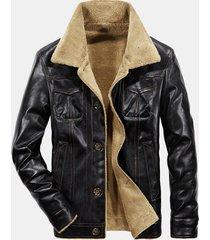 giacca in pelle sintetica calda foderata in pile da uomo d'affari casual invernale