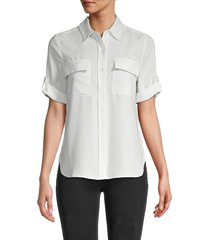 pure navy women's short-sleeve blouse - white - size l